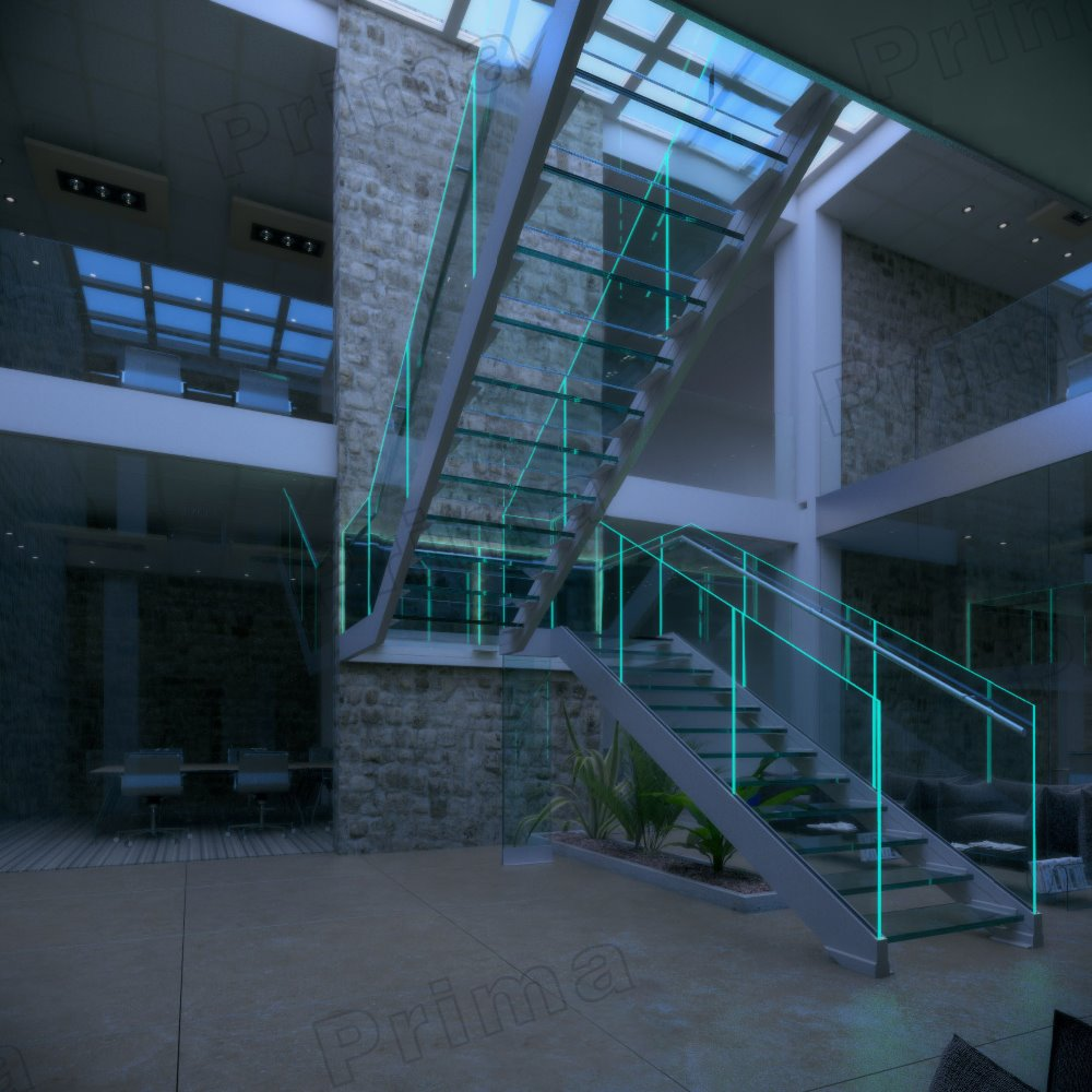Europe indoor Frameless floating glass stair/staircase factory