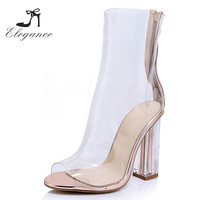 2017 New Fashion Fancy Summer Peep Toe Perspex PVC Transparent High Heels Ankle Clear Boots For Women
