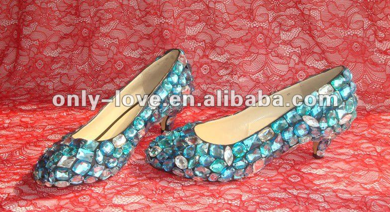 BS376 beautiful low heel blue crystal bridal wedding shoes
