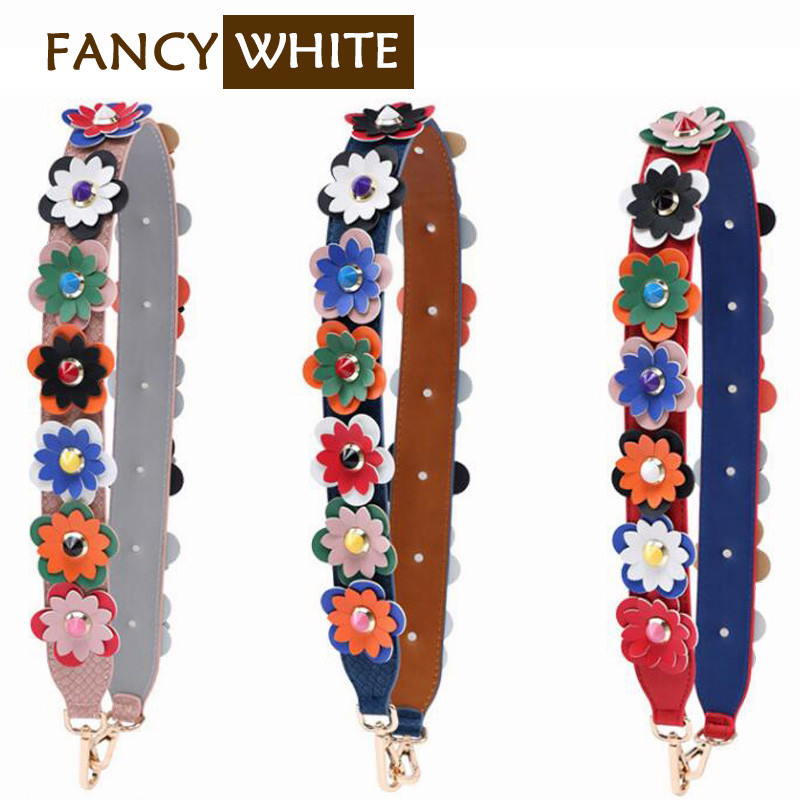 Adjustable ladies contrast colored flower replacement leather purse strap