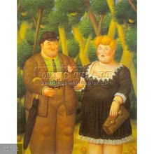 Handmade Fernando Botero fat figure oil painting, A Couple 1995