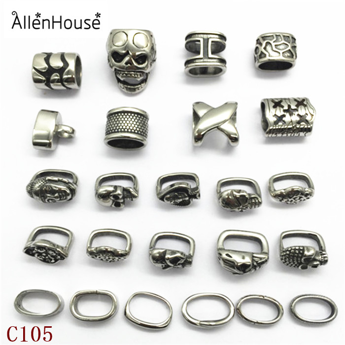 online shopping high quality stainless steel all skull theme slider beads charms with big hole 12x6mm for leather bracelets