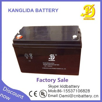 kanglida deep cycle rechargeable battery 12v100ah for solar and UPS system
