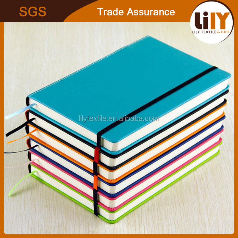 a5 a6 size colorful pu leather hardcover notebook with elastic strap for logo custom