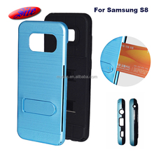 Guangzhou fashion tpu pc mobile phone shell card holder metal texture double cell phone case for S8