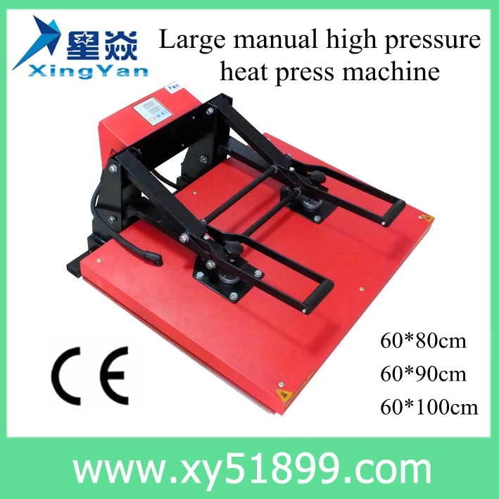 60*100CM t-shirt manual silicon pad high pressure heat press <strong>machine</strong>