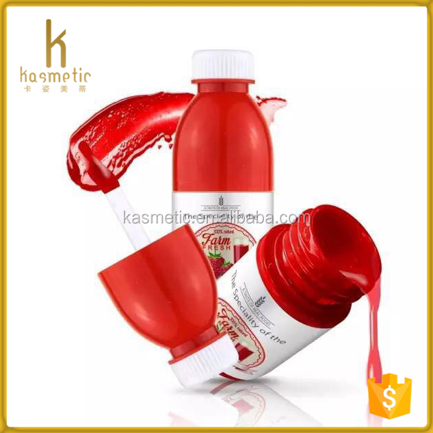Cute juice bottle shape red plastic mini empty liquid lipstick container