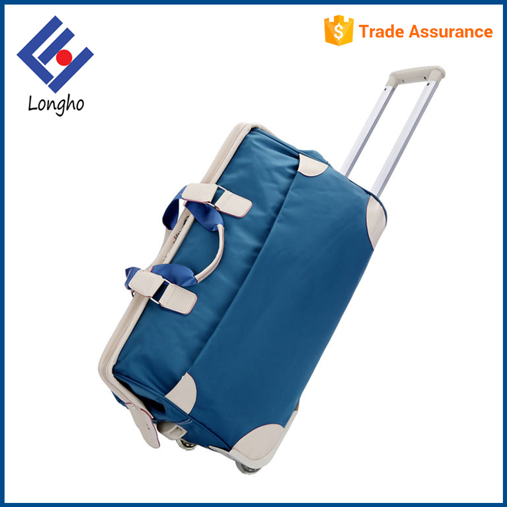 China wholesale sky travel luggage bag with wheels PU handle grab rolling duffle bag