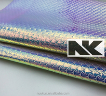 NK P036 PU silver fish scale pattern coating leather for bags