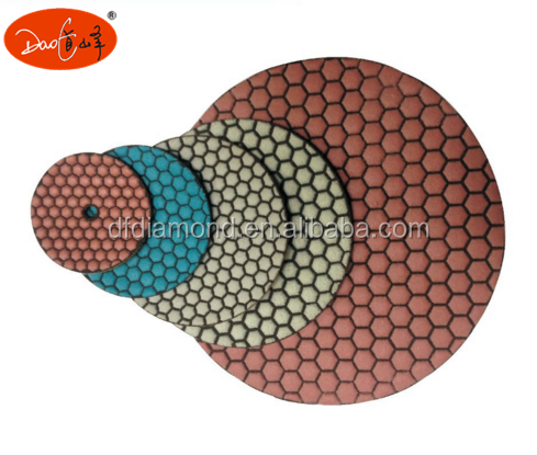 White Hexagon Dry Diamond Hand Polishing Pads For Marble Granite