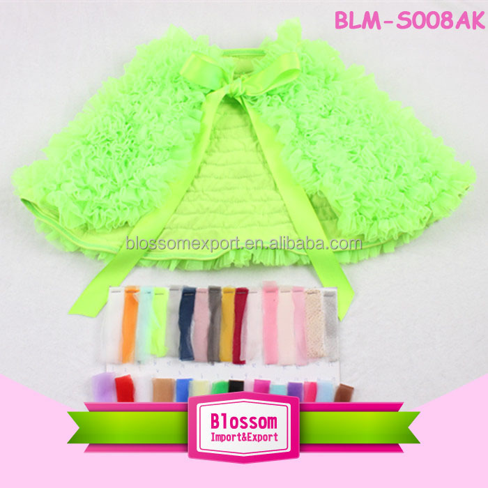 2015 Boutique fashion lime chiffon ruffle 100% cotton baby cape