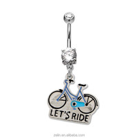 Prong Set Ride Bicycle Belly Rings