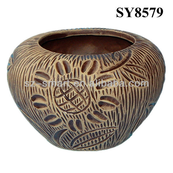 Cheap pot for sale sun flower mini growing ceramic pot