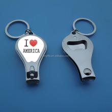 Metal Silver Finger Nail Cutter, Custom Logo Bottle Opener Type Nail Clipper Keychain, I Love America