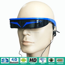 1080p full hd 3d video glasses 3D smart glasses head mounted display with wifi/android system 5.1 and bluetooth