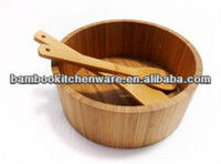 6020 Bamboo Wooden Round Salad Bowl