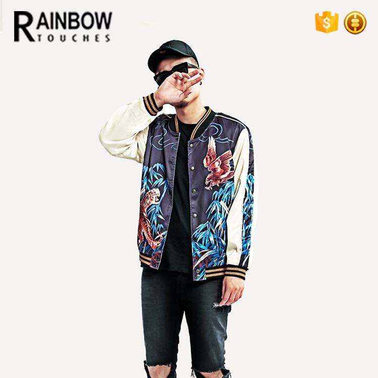 Wholesale Rib Hem Outdoor Printed Bomber Man Jacket With Buttons