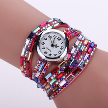 Long Strap Leather Bracelet Women Diamond Brand Watches