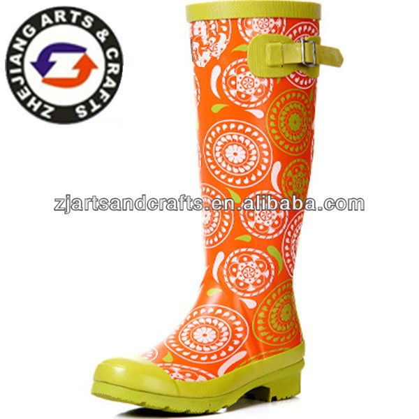 Adjustable ladies custom made wellington boots colourful rubber rain boots
