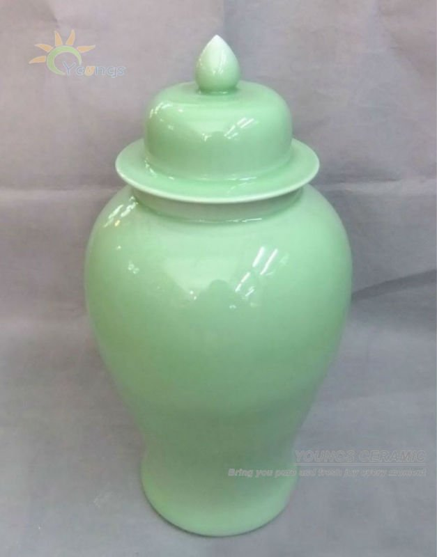 Three Heights China Ceramic Porcelain Celadon Tall Temple Jars
