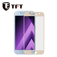 2.5D color slik print full cover tempered glass screen protector for Samsung A7 2017