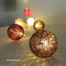Battery operated christmas cotton ball hanging led lights