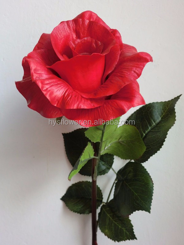 artificial natural rose flowers pu flower red big rose for wedding decor