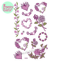 Gitter Pink Rose Sticker Temporary Tattoo Sticker Transfers Lipstick Art Party Fancy Dress AA006