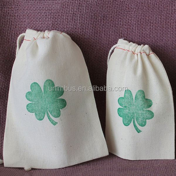 Custom Drawstring recycled organic cotton food pouch for storage with custom printing