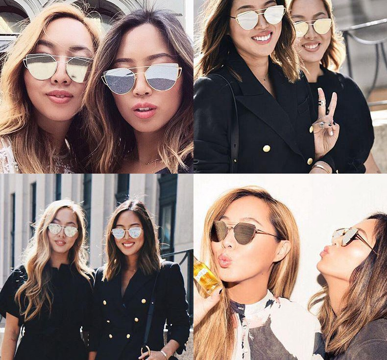 Fashion Cat Eye Retro Ladies Rose Gold Sunglasses Women Brand Designer Metal Vintage Mirror Sun Glasses  CC5062