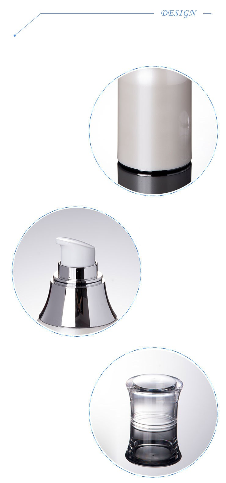 (FX05)100ML Pearl White Acrylic Cosmetic Airless Pump Bottle With Silver White Emulsion Pump