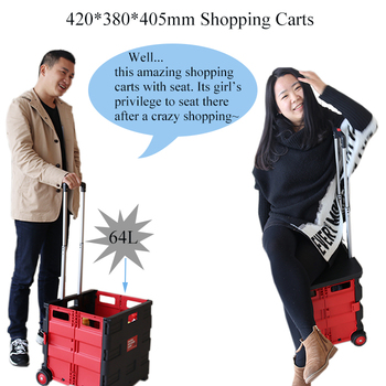 Hot on Sell Plastic Folding Shopping Cart with Adjustable Handle