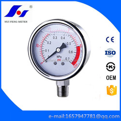 Cheap All SS Hydraulic Fuel Calibration Gas Bourdon Tube 0-100psi/MPa Hydraulic Pressure Gauge
