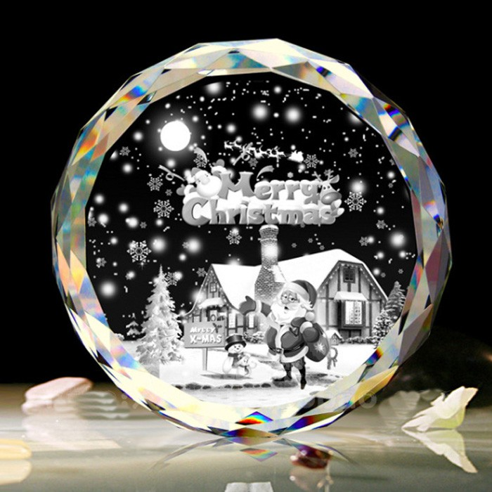 3D Laser Engraved Home Decoration Crystal Christmas Ornaments with LED Base