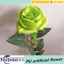 Wholesale real touch light green PU rose artificial flower