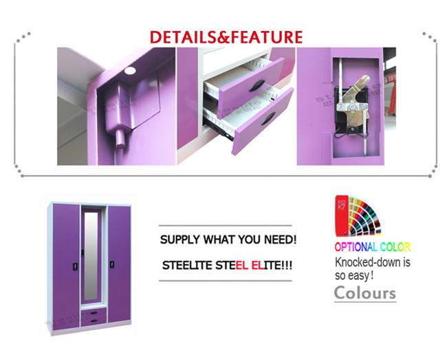 steel bureau 3 door wardrobe with mirror godrej almirah. Black Bedroom Furniture Sets. Home Design Ideas