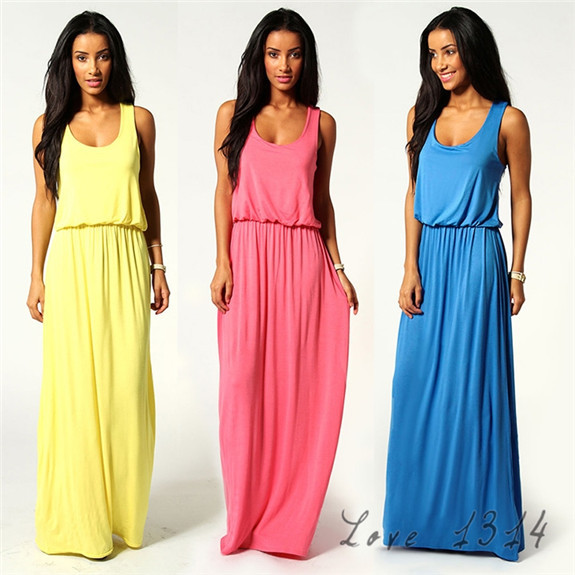 Tank Dress Women Casual Vintage Mid-Calf Chiffon Dresses Sleeveless lady Dress Summer Beach Maxi Dresses Blue Yellow SV005761