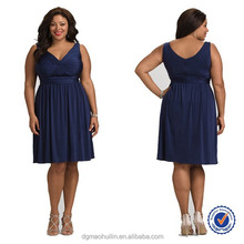 2015 summer dress deep v-neck cocktail dress plus size clothing for fat women