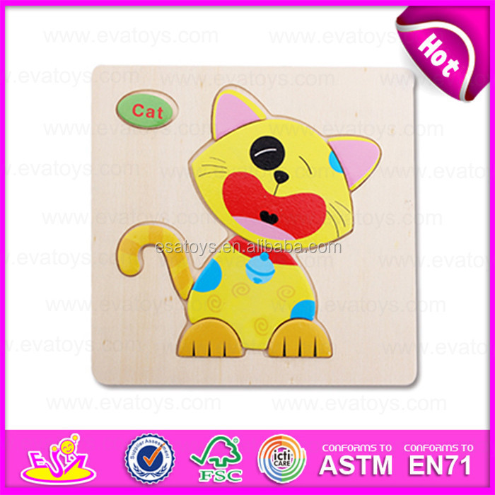 2015 Educational DIY toy wooden 3d puzzle game toy,High Quality 3D cat puzzle game toy,Hot Sale 3D Wooden Puzzle set W14C086