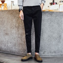 men jeans overalls wholesale black trousers with irregular back pocket new model mainstream boy pants