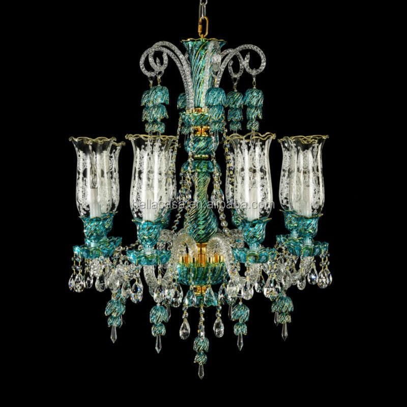 Vintage Turkish Blue Color Crystal Chandelier For Home Decoration