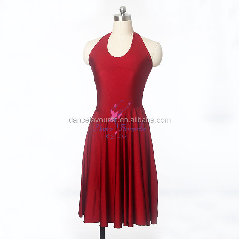 Adult Girls Wine Red Ballet, Lyrical and Contemporary Dance Costume Lycra Dress 14016