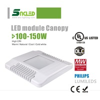 Slim 115LM/W UL DLC 11500LM 100W canopy led light gas station light with Meanwell driver 5 years warranty