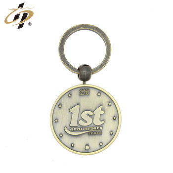 Antique bronze metal anniversary celebrate custom logo keyring