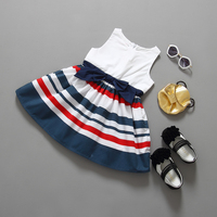 Latest kids clothes bulk wholesale one piece latest teenage sleeveless stripe kids girl dress casual wear