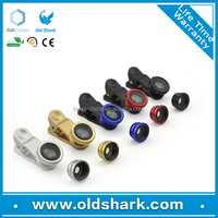 mobile phone accessories Fisheye Wide Angle Macro universal clip 3 in 1 lens for mobile phone oldshark