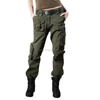 womens cheap match garments cargo pants with 10 pockets