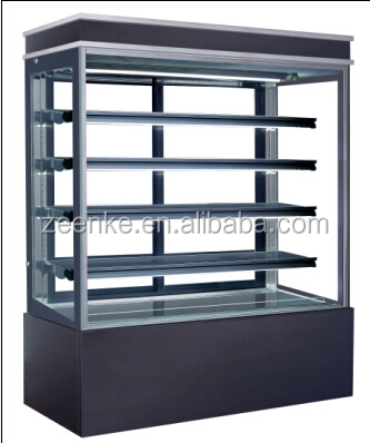 cake showcase/vertical refrigerated bakery display case/pastry showcase with curve glass door