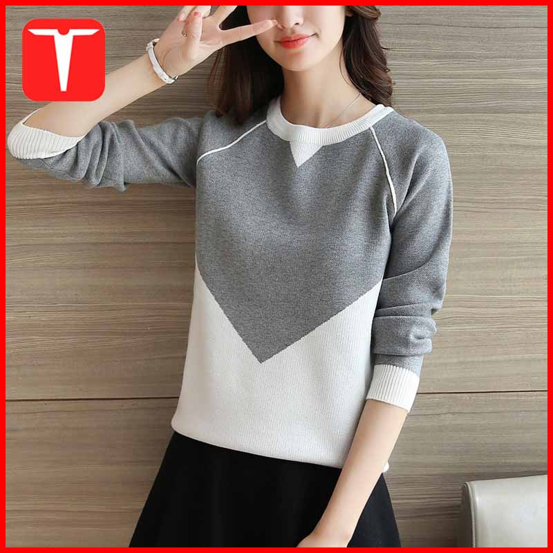 Ladies woolen two colour sweater design