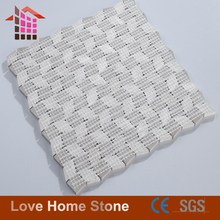 Hot sale white grey wooden grain marble mosaic